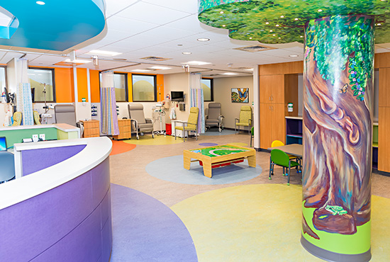 The nurses station, play area, and infusion bay area