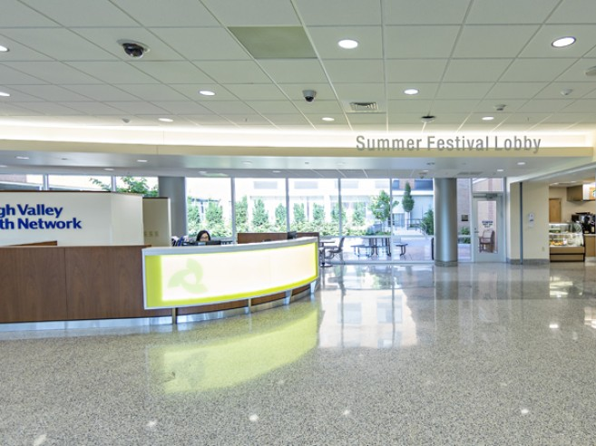 Family Health Pavilion information and welcome desk at Lehigh Valley Hospital–Muhlenberg (south entrance)