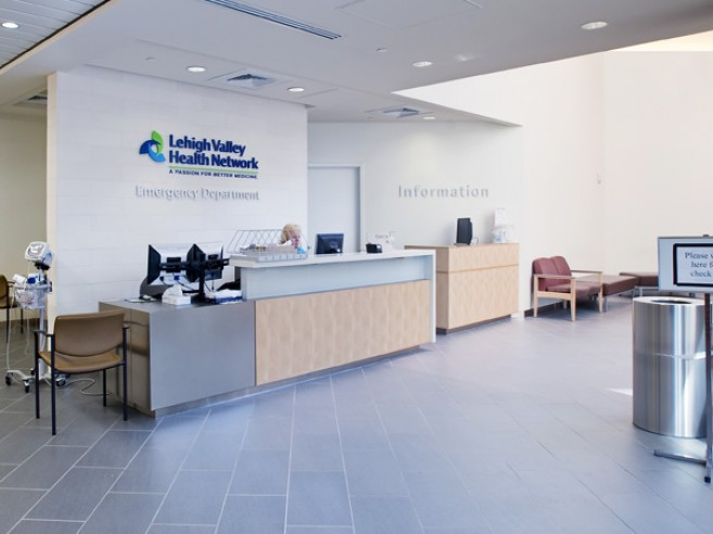 Emergency room welcome and check-in desk at Lehigh Valley Hospital–Muhlenberg