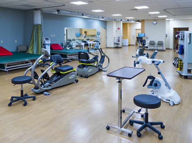 Inpatient Rehabilitation Center–Muhlenberg therapy gym, located on the first floor of the Family Health Pavilion, Lehigh Valley Hospital–Muhlenberg (south entrance)