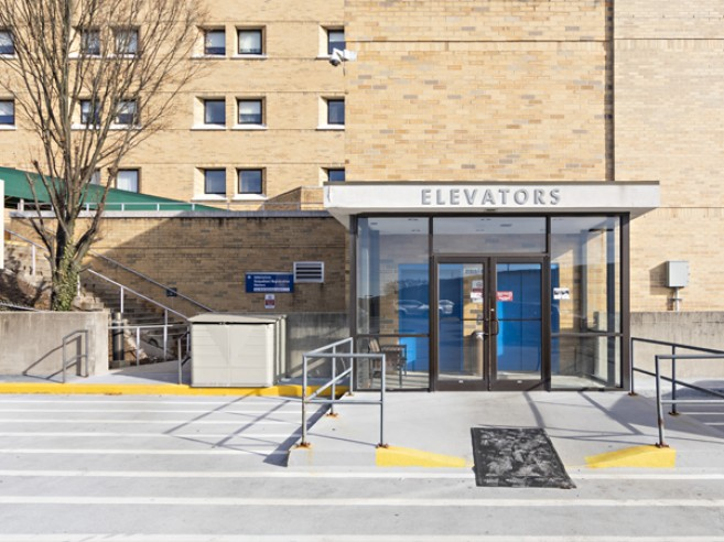 Parking deck entrance at Lehigh Valley Hospital–Schuylkill E. Norwegian Street