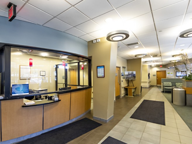 Emergency room check-in desk at Lehigh Valley Hospital–Hazleton, located on the first floor