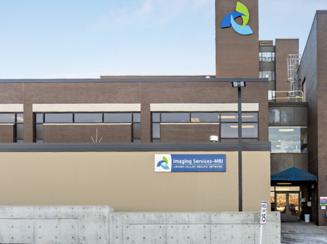 MRI entrance is accessed from the lower parking lot at Lehigh Valley Hospital–Hazleton. For all other imaging needs, please enter through main hospital entrance