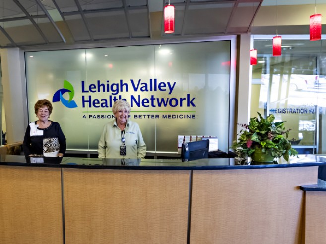 You will receive a warm welcome and information from Guest Services located at the main entrance welcome desk at Lehigh Valley Hospital–Hazleton