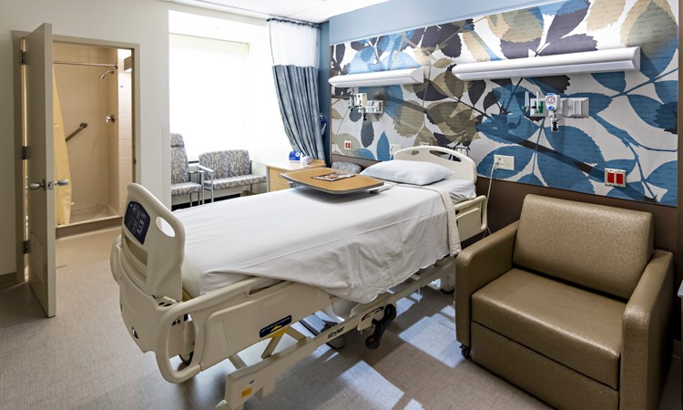 Newly-renovated patient room at Lehigh Valley Hospital–Hazleton