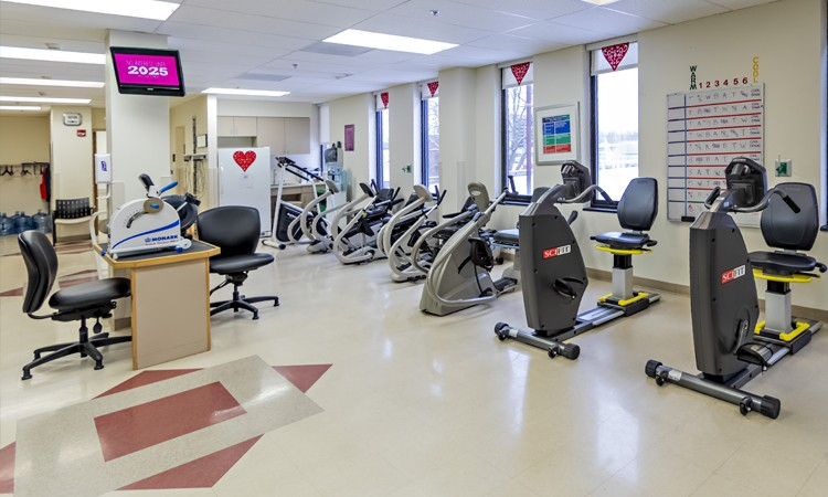 Inpatient Rehabilitation Center–Pocono therapy gym, located on the second floor, Lehigh Valley Hospital–Pocono