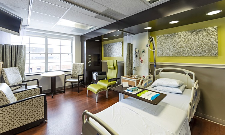Patient room at the Inpatient Rehabilitation Center–Pocono, located on the second floor, Lehigh Valley Hospital–Pocono