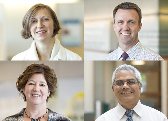 Skin and Soft Tissue MDC Team (top row from left) Alyson McIntosh, MD, Radiation Oncologist; Aaron Blackham, MD, Surgical Oncologist; (bottom row from left) Angela Miller, RN, Med, OCN, Nurse Navigator; Suresh Nair, MD, Medical Oncologist.