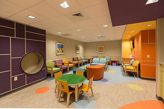 The center also features a reception and waiting area designed specifically for children and families.