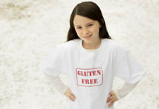 Girl wearing gluten-free shirt