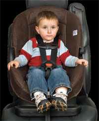 Child in forward-facing car seat
