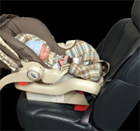 Infant in rear-facing safety seat