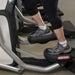 Feet on exercise machine