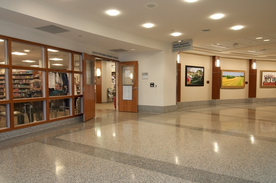 Along the left side of the corridor, entering the Fred Jaindl Family Pavilion, you will pass the Health Spectrum Pharmacy. The pharmacy provides over-the-counter and prescription medications, as well as breastfeeding supplies including breast pump rentals.